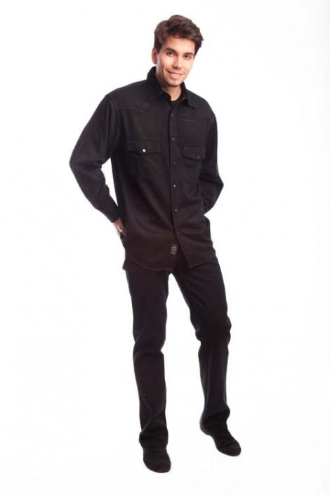 джинсовая рубашка мужская johnwin черная Johnwin( Hugo Boss) рубашки 68