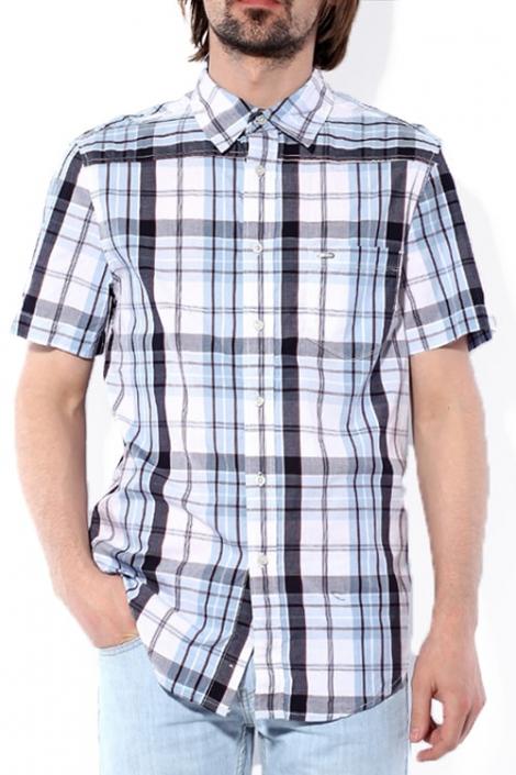 рубашка мужская в клетку, короткий рукав Montana рубашки 11061 Light Blue