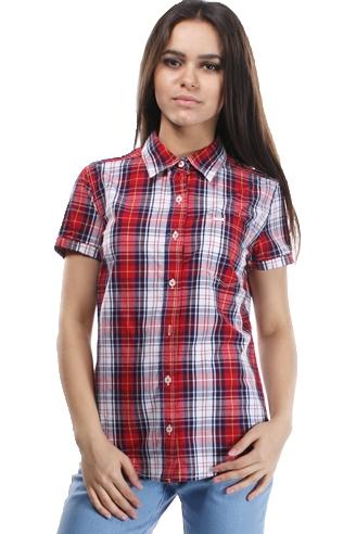 Рубашка женская в клетку, короткий рукав
