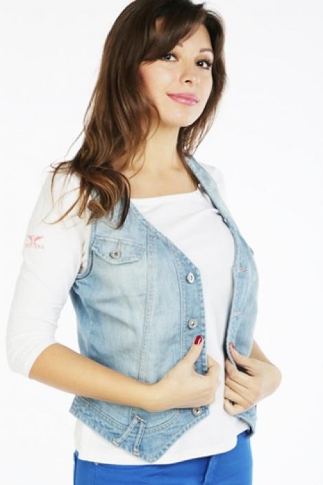 жилет монтана женский 12571 голубой Montana джинсовые куртки 12571